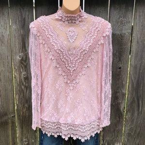Karen Lawrence Sz 12 Vintage Lace Blouse Rose Pink